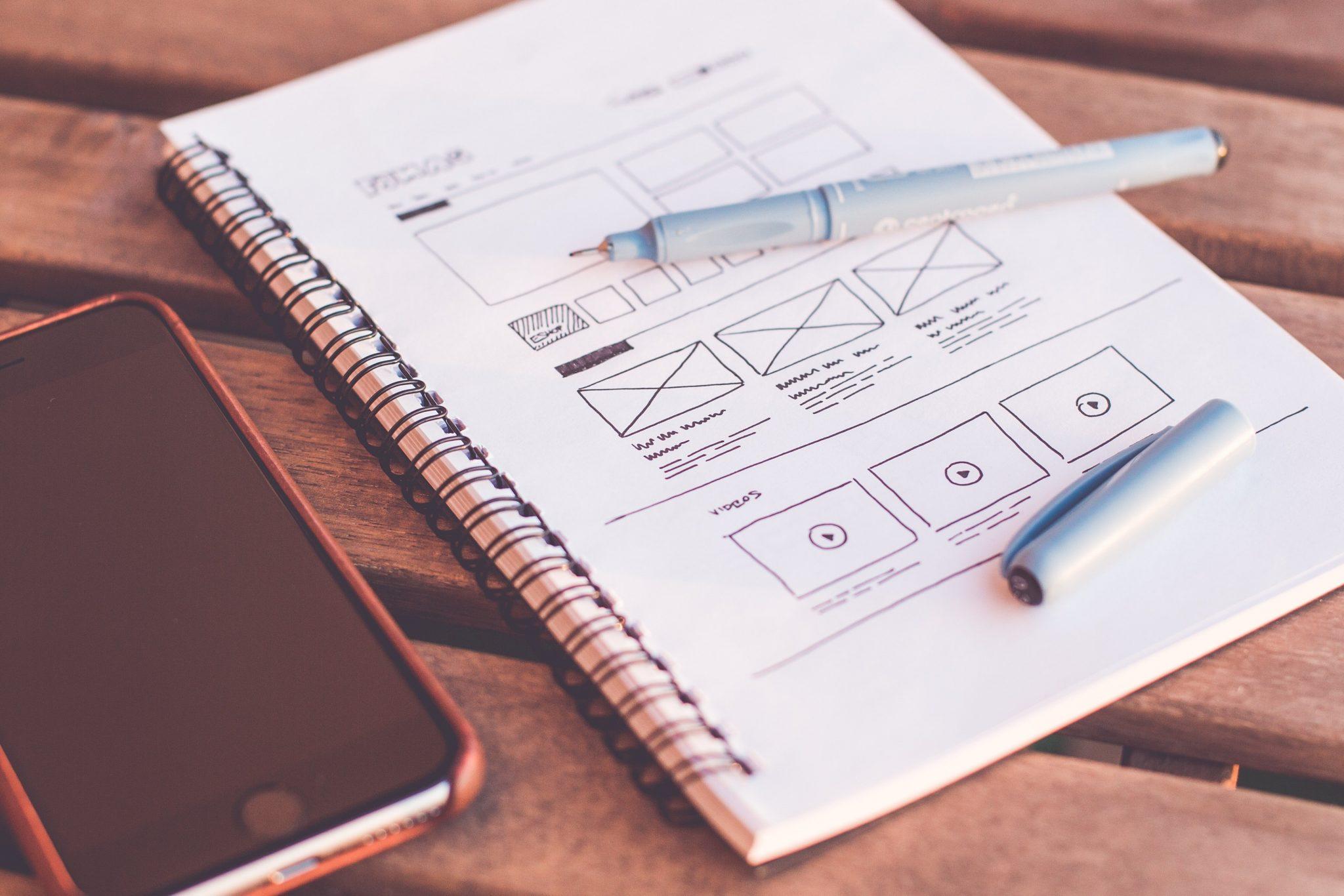 Notizblock mit Zeichnungen
